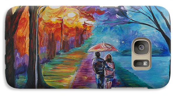 Galaxy Case featuring the painting Walk By The Lake Series 1 by Leslie Allen