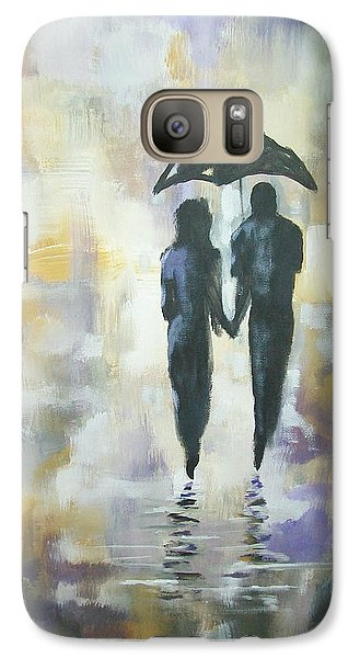 Galaxy Case featuring the painting Walk In The Rain #3 by Raymond Doward