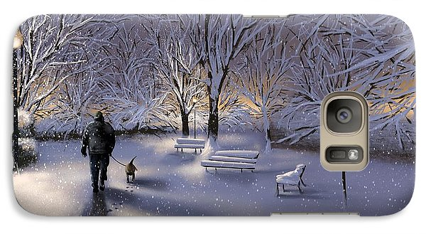 Galaxy Case featuring the painting Walking In The Snow by Veronica Minozzi