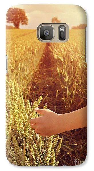Galaxy Case featuring the photograph Walking Through Wheat Field by Lyn Randle