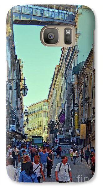 Galaxy Case featuring the photograph Walkway Over The Street - Lisbon by Mary Machare