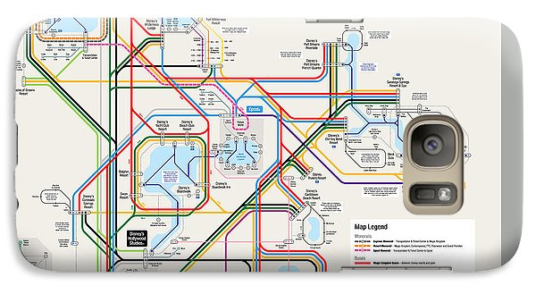 Walt Disney World Resort Transportation Map Galaxy S7 Case by Arthur De Wolf