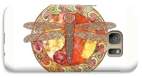 Galaxy Case featuring the mixed media Warm Celtic Dragonfly by Kristen Fox