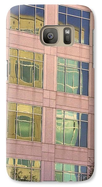 Galaxy Case featuring the photograph Warped Window Reflectionss by Linda Phelps