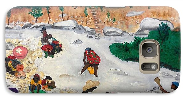 Galaxy Case featuring the painting Washing Clothes By The Riverside In Haiti by Nicole Jean-Louis