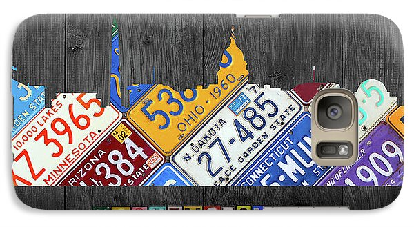 Washington Dc Skyline Recycled Vintage License Plate Art Galaxy S7 Case by Design Turnpike