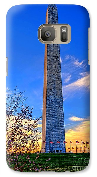 Washington Monument And Cherry Tree  Galaxy S7 Case by Olivier Le Queinec