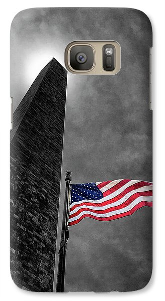 Washington Monument And The Stars And Stripes Galaxy S7 Case by Andrew Soundarajan