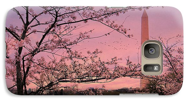 Galaxy Case featuring the photograph Washington Monument Cherry Blossom Festival by Shelley Neff
