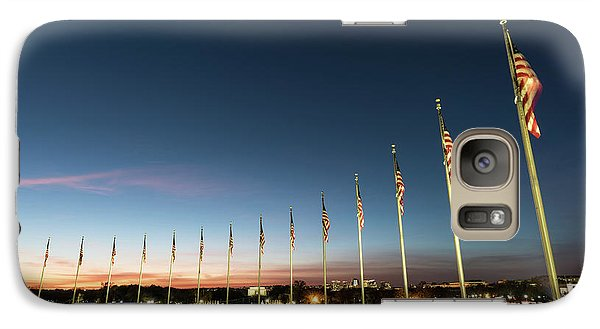 Lincoln Memorial Galaxy S7 Case - Washington Monument Flags by Larry Marshall
