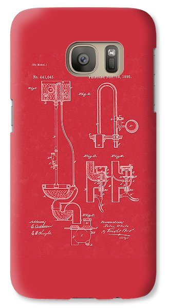 Water Closet Patent Art Red Galaxy S7 Case