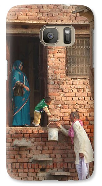 Galaxy Case featuring the photograph Water Delivery In Vrindavan by Jean luc Comperat