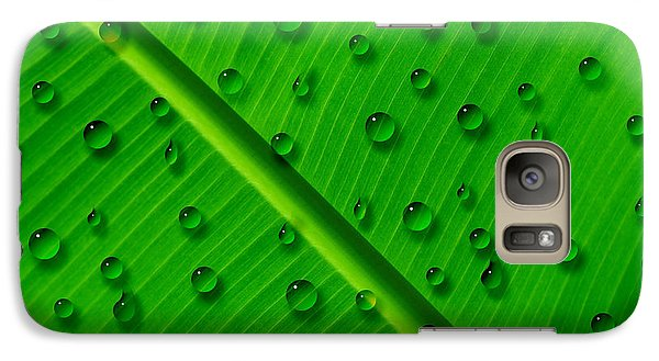 Galaxy Case featuring the painting Water Drops On Palm Leaf by Georgeta Blanaru