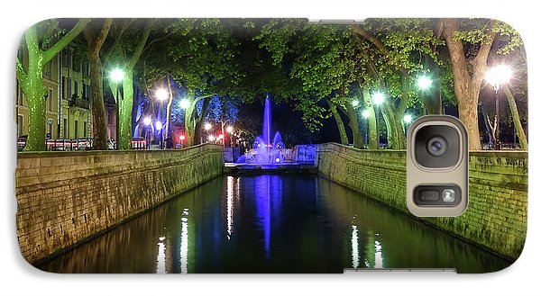 Galaxy Case featuring the photograph Water Fountain At Night by Scott Carruthers
