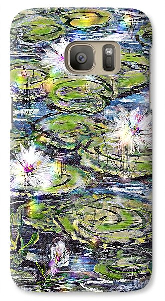 Galaxy Case featuring the painting Water Lilies And Rainbows by Desline Vitto