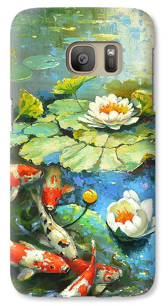 Galaxy Case featuring the painting Water Lily Or Solar Pond      by Dmitry Spiros