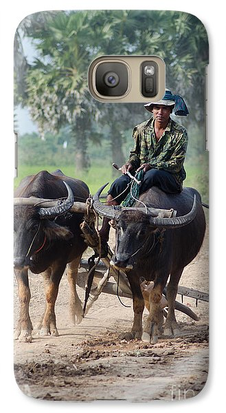 Galaxy Case featuring the photograph Waterbuffalo Driver Returns With His Animals At Day's End by Jason Rosette