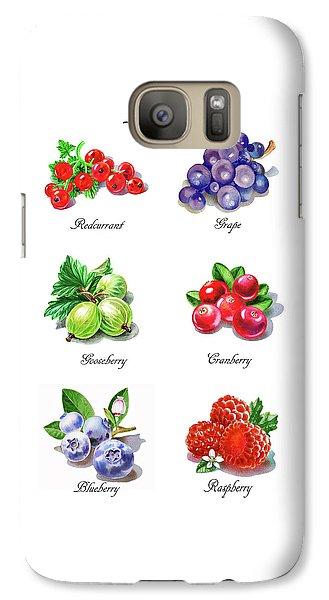Raspberry Galaxy S7 Case - Watercolor Berries Illustration Collection I by Irina Sztukowski