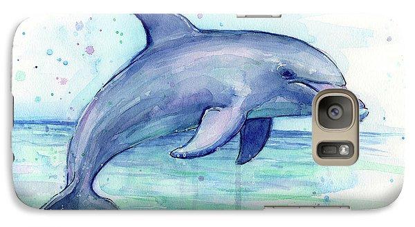 Watercolor Dolphin Painting - Facing Right Galaxy S7 Case by Olga Shvartsur