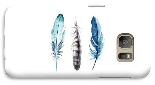 Galaxy Case featuring the digital art Watercolor Feathers by Jaime Friedman