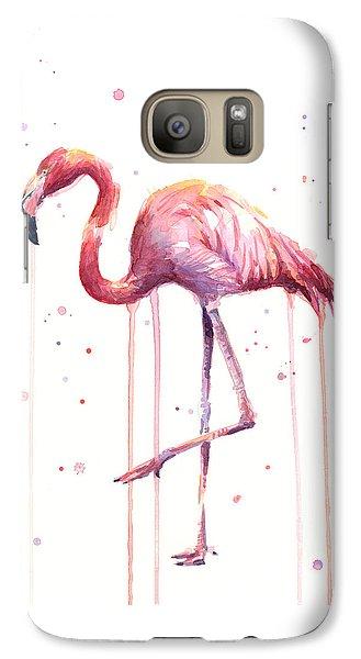 Flamingo Galaxy S7 Case - Watercolor Flamingo by Olga Shvartsur