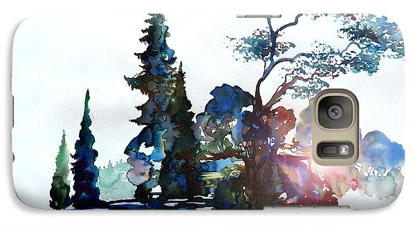 Galaxy Case featuring the painting Watercolor Forest And Pond by Curtiss Shaffer
