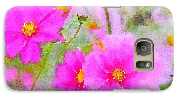 Galaxy Case featuring the painting Watercolor Pink Cosmos by Bonnie Bruno