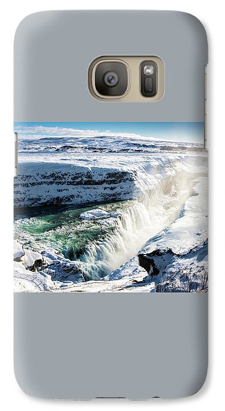 Galaxy Case featuring the photograph Waterfall Gullfoss Iceland In Winter by Matthias Hauser