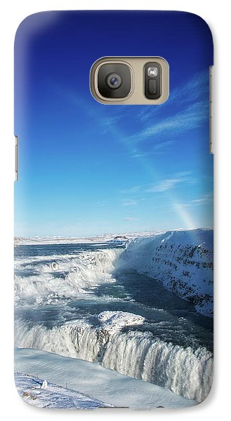 Galaxy Case featuring the photograph Waterfall Gullfoss In Winter Iceland Europe by Matthias Hauser