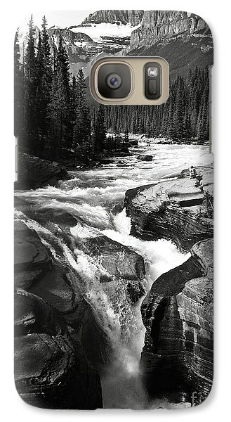 Galaxy Case featuring the photograph Waterfall In Banff National Park Bw by RicardMN Photography