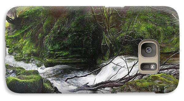 Galaxy Case featuring the painting Waterfall Near Tallybont-on-usk Wales by Harry Robertson