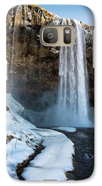 Galaxy Case featuring the photograph Waterfall Seljalandsfoss Iceland In Winter by Matthias Hauser