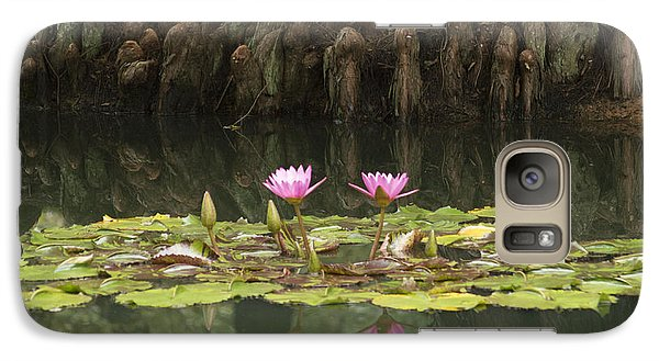 Galaxy Case featuring the photograph Waterlilies And Cyprus Knees by Linda Geiger