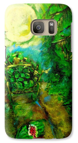 Galaxy Case featuring the painting Watermelon Wagon Moon by Seth Weaver