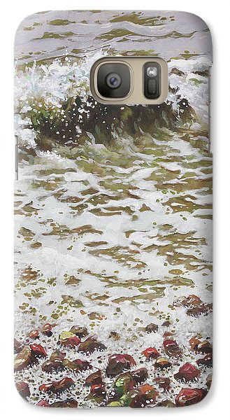 Galaxy Case featuring the painting Wave And Colorful Pebbles by Martin Davey
