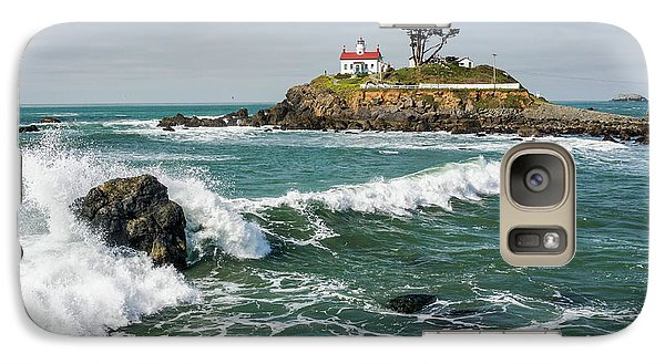 Galaxy Case featuring the photograph Wave Break And The Lighthouse by Greg Nyquist