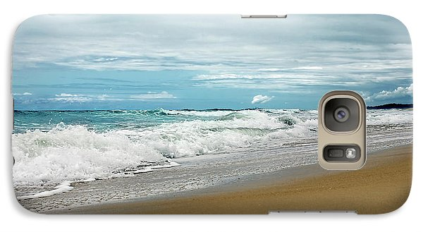 Galaxy Case featuring the photograph Waves Clouds And Sand By Kaye Menner by Kaye Menner