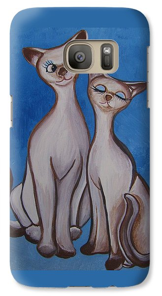 Galaxy Case featuring the painting We Are Siamese by Leslie Manley