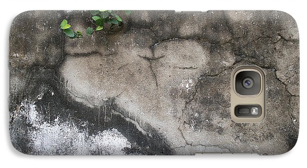 Galaxy Case featuring the photograph Weathered Broken Concrete Wall With Vines by Jason Rosette