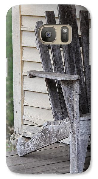 Galaxy Case featuring the photograph Weathered Porch Chair by Debbie Karnes