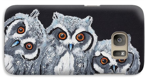 Galaxy Case featuring the painting Wee Owls by Scott Wilmot