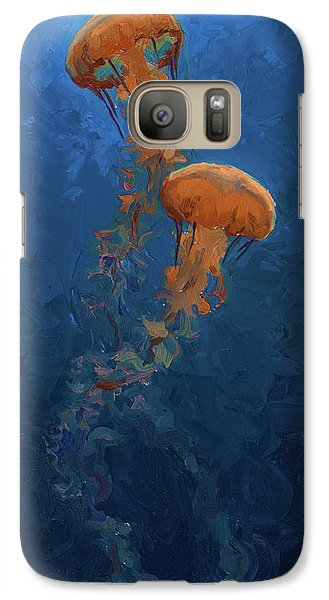 Galaxy Case featuring the painting Weightless - Pacific Nettle Jellyfish Study  by Karen Whitworth