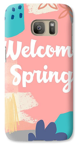 Peach Galaxy S7 Case - Welcome Spring- Colorful Art By Linda Woods by Linda Woods