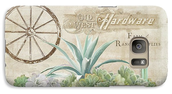 Galaxy Case featuring the painting Western Range 4 Old West Desert Cactus Farm Ranch  Wooden Sign Hardware by Audrey Jeanne Roberts