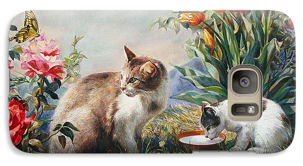 Galaxy Case featuring the painting What A Girl Kitten Wants by Svitozar Nenyuk