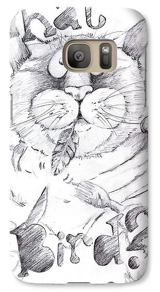 Galaxy Case featuring the drawing What Bird  by Mary-Lee Sanders