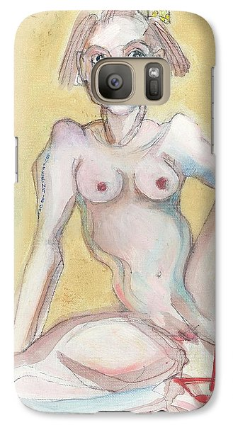 Galaxy Case featuring the painting What It Was Really Like - Self Portrait by Carolyn Weltman