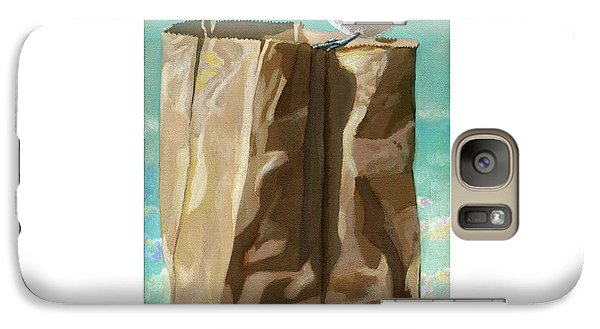 Galaxy Case featuring the painting What's In The Bag Original Painting by Linda Apple