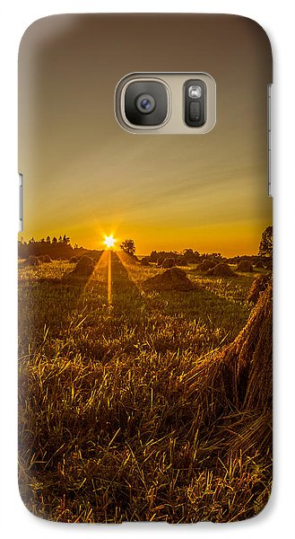 Galaxy Case featuring the photograph Wheat Shocks by Chris Bordeleau