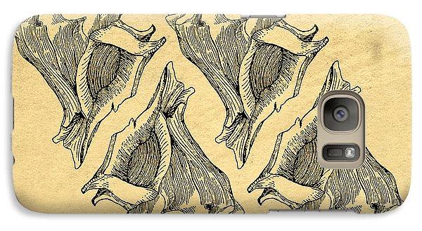 Galaxy Case featuring the digital art Whelk Seashells Vintage by Edward Fielding